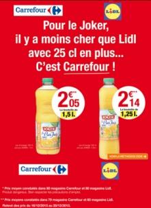 Publicité comparative de Carrefour contre Lidl