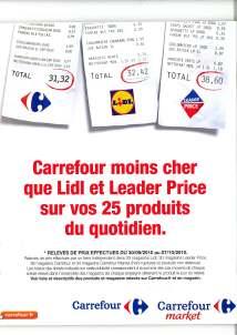 Publicité comprarative de Carrefour contre Lidl et Leader Price